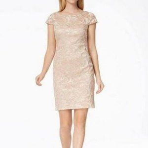 Calvin Klein Gold Sequined Lace Dress
